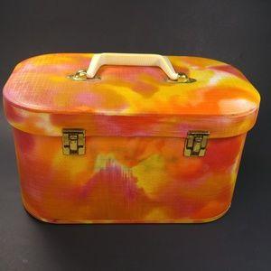 Vintage Make Up Case Orange Pink Handled Pin Up